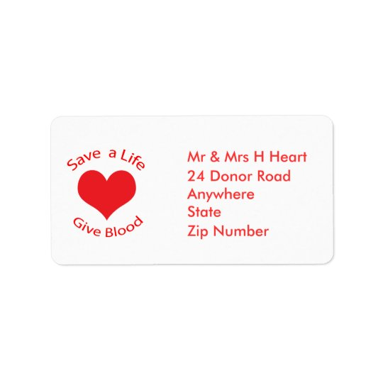 Red heart save a life give blood donation labels