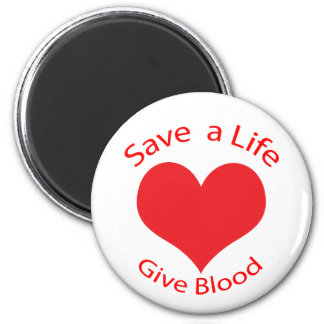 Red heart save a life give blood donation magnet