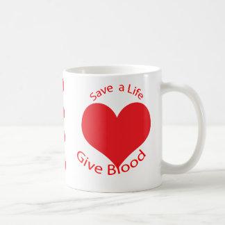 Red heart save a life give blood donation mug