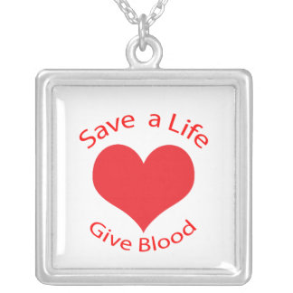 Red heart save a life give blood donation necklace