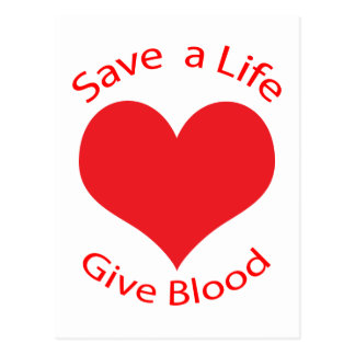 Red heart save a life give blood donation postcard