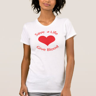 Red heart save a life give blood donation t-shirt