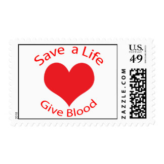 Red heart save a life give blood postage stamp