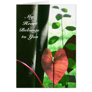 """RED HEART-SHAPED PLANT '""""MY HEART BELONGS TO YOU"""" NOTE CARD"""