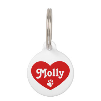Red Heart Silhouette With Name And Number Pet Name Tag