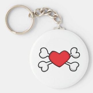 red heart Skull and Crossbones Keychain