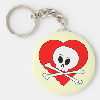 Red Heart Skull Key Chains