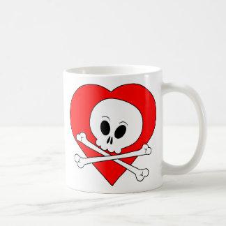 Red Heart Skull Mugs