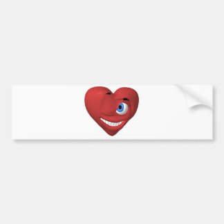 Red heart smiley winking at you bumper sticker