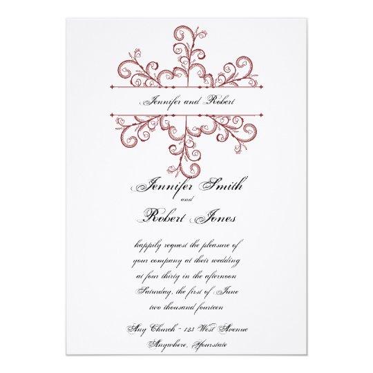 Red Heart Snowflake Wedding Invitation