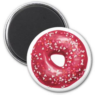Red Heart Sprinkles Doughnut. 6 Cm Round Magnet