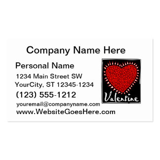 red heart squiggles valentine business cards