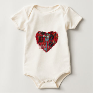 Red Heart Steampunk Baby Bodysuit