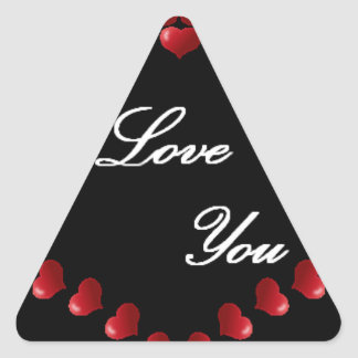 red heart triangle stickers