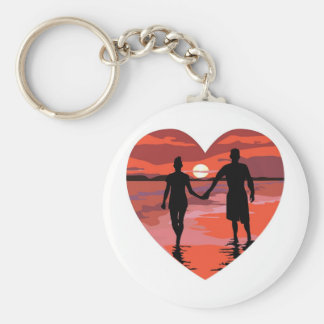 Red Heart Sunset Beach Holding Hands Key Ring