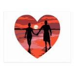 Red Heart Sunset Beach Holding Hands Postcard