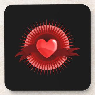 Red heart symbol coaster