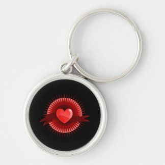 Red heart symbol Silver-Colored round key ring