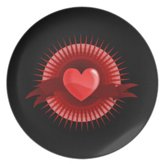 Red heart symbol party plates