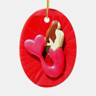 red heart-tailed mermaid beauty ceramic oval decoration