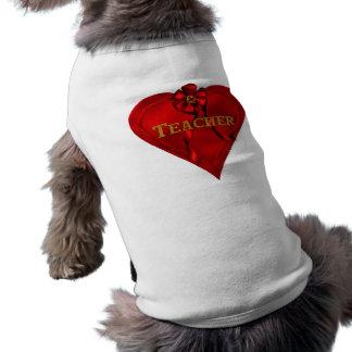 Red Heart Teacher Dog T Shirt