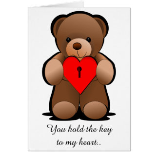 Red Heart Teddy Bear Print, I Love You Card