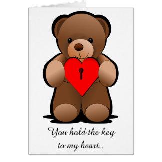 Red Heart Teddy Bear Print, I Love You Card