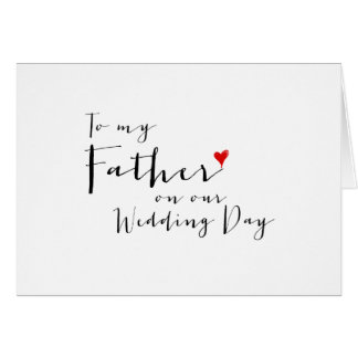 Red Heart To My Father on My Wedding Day Note Card