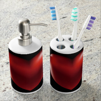 Red Heart Toothbrush Holder & Soap Dispenser Set