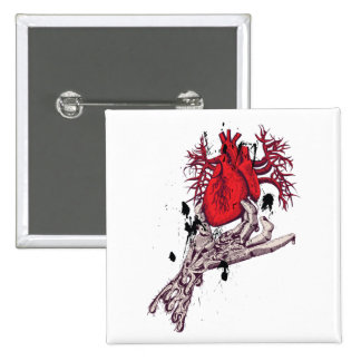 Red Heart Torn Heart In Hand Fantasy Art Pinback Button