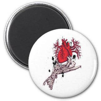Red Heart Torn Heart In Hand Fantasy Art Fridge Magnets