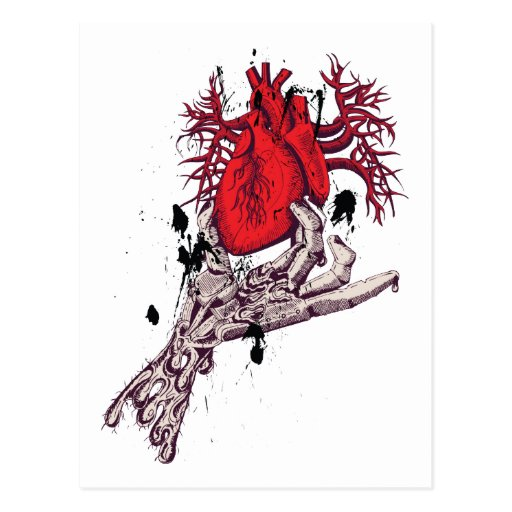 Red Heart ~ Torn Heart In Hand Fantasy Art Post Card