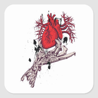 Red Heart Torn Heart In Hand Fantasy Art Square Stickers