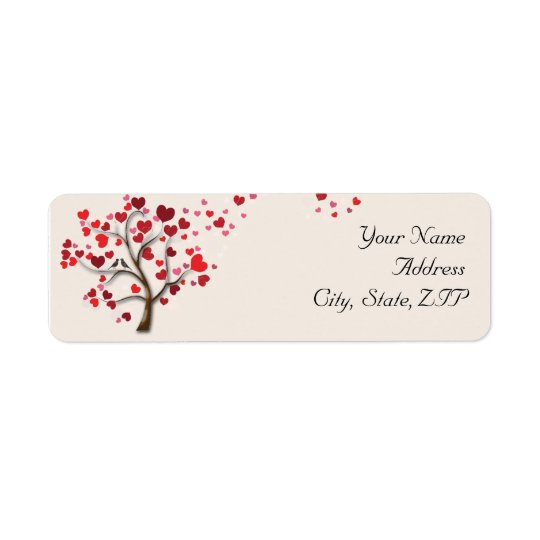 Red Heart Tree on Ivory Return Address
