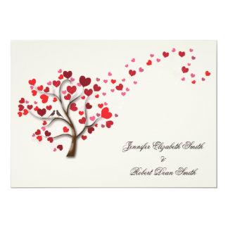 Red Heart Tree on Ivory Wedding 13 Cm X 18 Cm Invitation Card