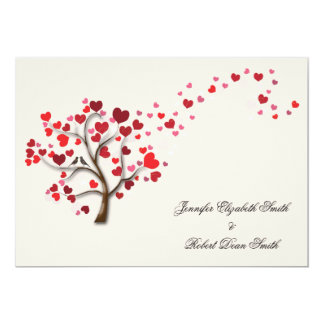 Red Heart Tree on Ivory Wedding Card