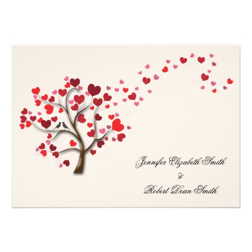 Red Heart Tree on Ivory Wedding Custom Announcements