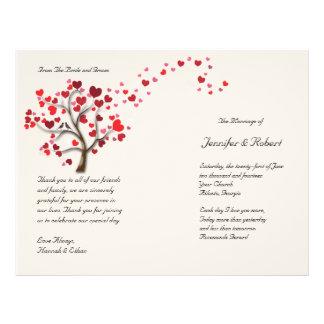 Red Heart Tree on Ivory Wedding Program 21.5 Cm X 28 Cm Flyer
