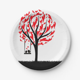 Red Heart Tree Paper Plates