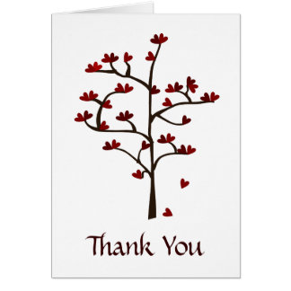 Red Heart Tree Thank You Note Card