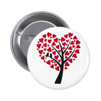 Red heart tree with love birds 6 cm round badge