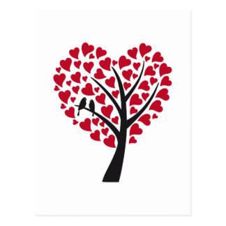 Red heart tree with love birds postcard