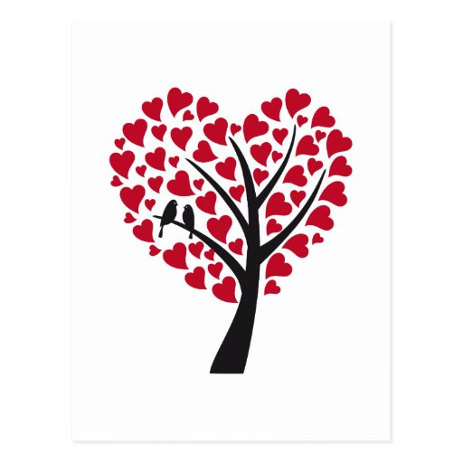 Red heart tree with love birds post cards