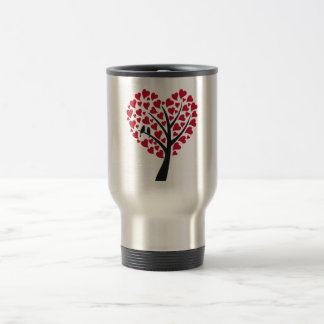Red heart tree with love birds travel mug