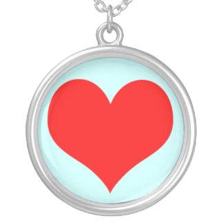 Red Heart Valentine Love Romance Custom Background Round Pendant Necklace