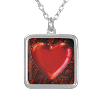 Red heart wall background silver plated necklace