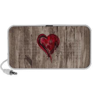 Red Heart Watercolor on Wood Notebook Speakers