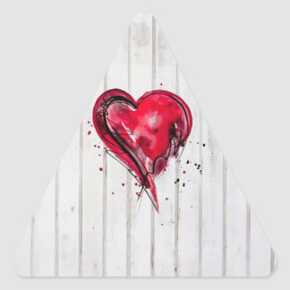 Red Heart Watercolor on Wood Triangle Sticker