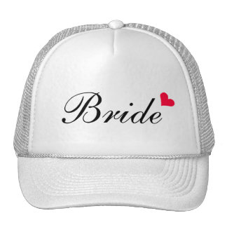 Red Heart White  Customizable Bride Hat
