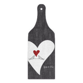 Red Heart White Doves In Love Rustic Modern Cutting Board